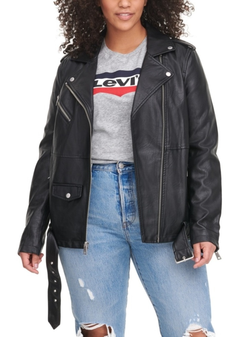Levi's Trendy Plus Size Faux-Leather Oversized Moto Jacket