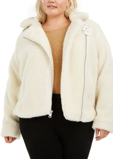 Levi's Trendy Plus Size All Over Sherpa Asymmetrical-Zip Moto Jacket