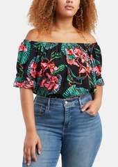 Levi's Trendy Plus Size Kimberley Floral-Print Off-The-Shoulder Top