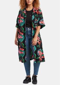 Levi's Trendy Plus Size Scarlet Floral-Print Shirt Kimono