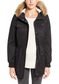 Levi's® Water Resistant Parka with Faux Fur Trim Hood
