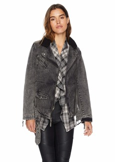 Levi's Women's Acid Wash Cotton Sherpa Oversized Moto Jacket Black