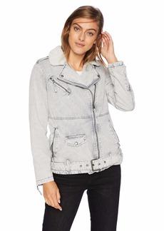 Levi's Women's Acid Wash Cotton Sherpa Oversized Moto Jacket Grey