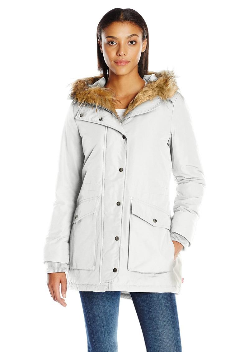 Levi's Women's Arctic Cloth Full Length Filled Parka with Faux Fur Trim  S