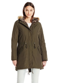 Levi's Women's Arctic Cloth Full Length Pile Lined Parka with Faux Fur Trimmed Hood  XL