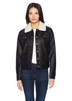 Levi's Women's Classic Faux Leather Sherpa Collar Trucker Jacket  Extra Small