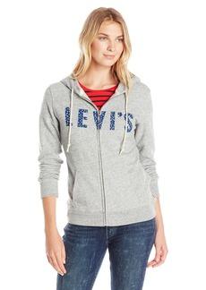 Levi's Women's Classic Hoodie Fleece Zip up Smokestack Heather (60% Cotton 40% Polyester) Large