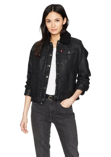 Levi's Women's Classic Sherpa Lined Faux Leather Trucker Jacket  Extra Large