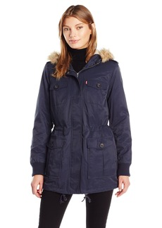 Levi's Women's Coated Cotton Four Pocket Sherpa Lined Mid Length Parka  L