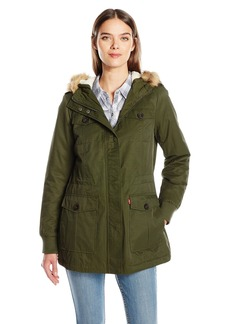 Levi's Women's Coated Cotton Four Pocket Sherpa Lined Mid Length Parka  M