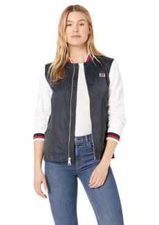 Levi's Women's Plus Size Colorblocked Poly Satin Retro Bomber Jacket
