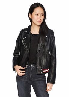 Levi's Women's Contrast Rib Knit Faux Leather Moto Bomber Jacket