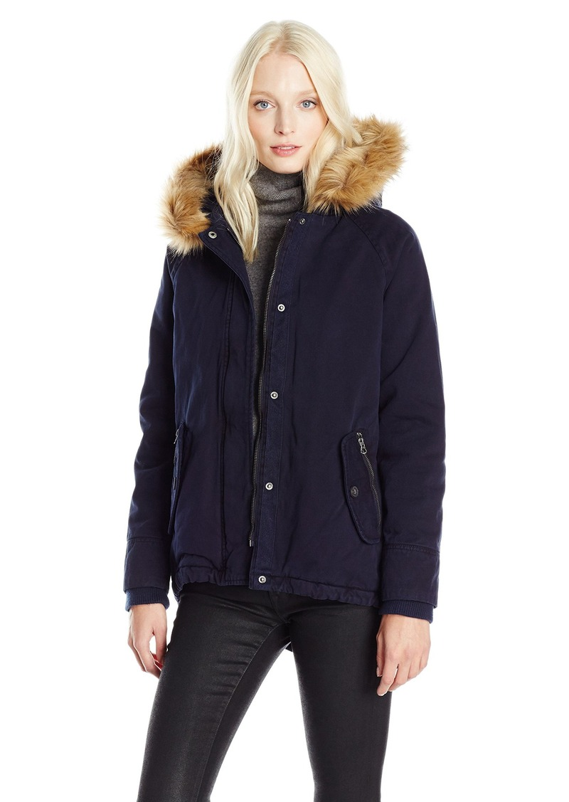 Levi's Women's Cotton Fashion Swing Coat with Faux Fur Trimmed Hood  M