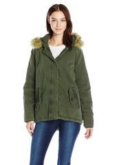 Levi's Women's Cotton Fashion Swing Coat with Faux Fur Trimmed Hood  S