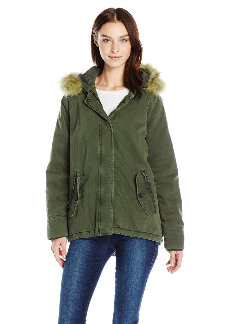 598567069 Women's Cotton Fashion Swing Coat with Faux Fur Trimmed Hood S