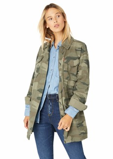 Levi's Women's Cotton Four Pocket Oversized Military Jacket Army camo
