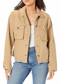 Levi's Women's Cotton Twill Cropped Raw Hem Utility Jacket  MD