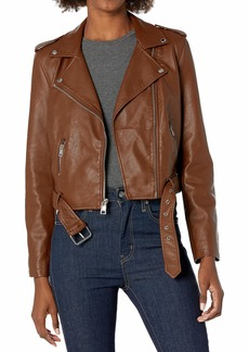 Levi's Women's Faux Leather Belted Motorcycle Jacket (Standard and Plus Sizes)