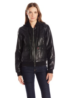 Levi's Women's Faux-Leather Bomber Jacket with Jersey Knit Hood