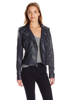Levi's Women's Faux Leather Classic Asymmetrical Motorcycle Jacket NAVY SMOOTH LAMB L