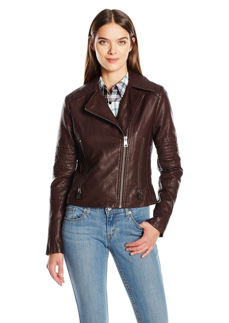 d0948f52 Levi's Women's Faux Leather Lay Down Collar Motorcycle Jacket with Quilted  ...