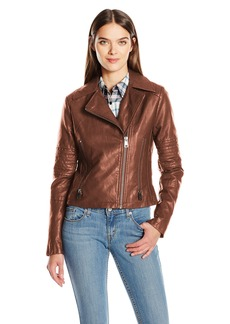 Levi's Women's Faux Leather Lay Down Collar Motorcycle Jacket with Quilted Arms  M