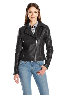 Levi's Women's Faux Leather Lay Down Collar Motorcycle Jacket with Quilted Arms  XL