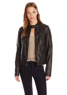 Levi's Women's Faux-Leather Moto Jacket with Quilted Panels Dark Brown
