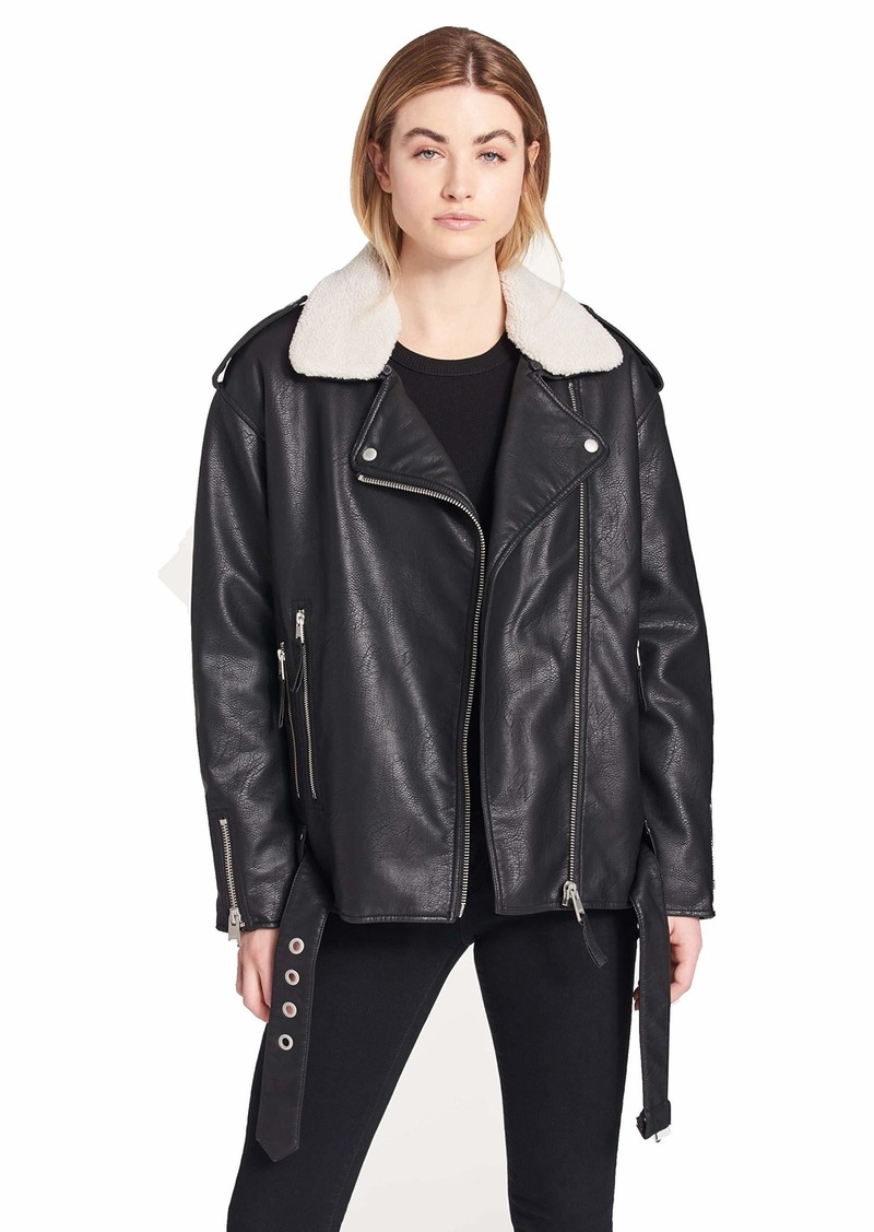 Levi's Women's Faux Leather Oversized Sherpa Lined Motorcycle Jacket