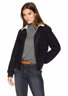 Levi's Women's Faux Leather Sherpa Aviator Bomber Jacket black