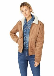 Levi's Women's Faux Leather Sherpa Aviator Bomber Jacket camel