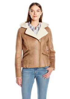 Levi's Women's Faux Shearling Assymetrical Sherpa Lined Hooded Coat  XS