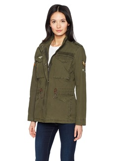 Levi's Women's Four-Pocket Cotton Military Jacket with Patches  Extra Small
