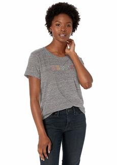 Levi's Women's Graphic Surf Tee Shirt Rainbow Text Smokestack Heather