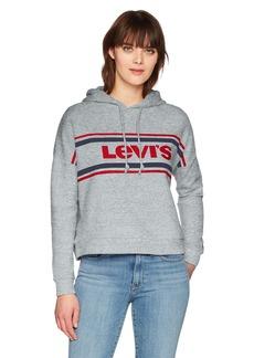 Levi's Women's Graphic Track Hoodie Sweatshirt Sport Logo Smokestack Heather