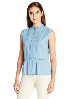 Levi's Women's Hidden Buttons Peplum Chambray Top