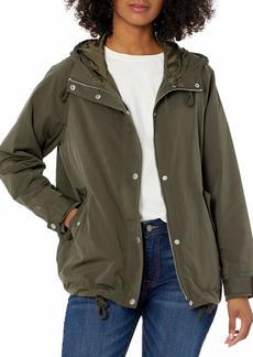 Levi's Women's Hooded Peached Nylon Zip Front Rain Jacket  L