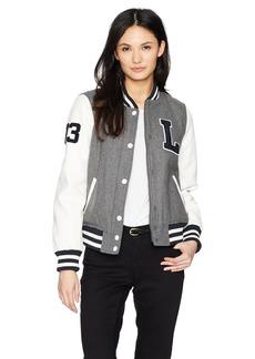 Levi's Women's Mixed Media Letterman Bomber Jacket  Extra Small