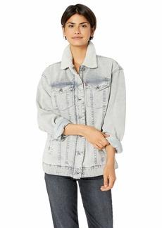 Levi's Women's Oversized Acid Washed Cotton Sherpa Trucker Jacket Grey