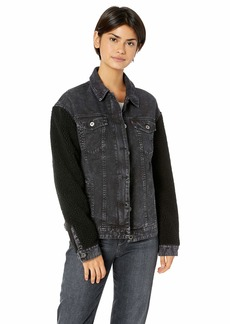 Levi's Women's Oversized Cotton Trucker Jacket with Sherpa Sleeves