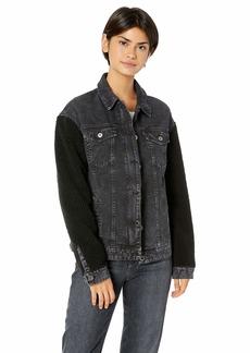 Levi's Women's Acid Washed Sherpa Sleeve Trucker Jacket (Standard & Plus Sizes)