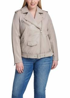 Levi's Women's Oversized Faux Leather Belted Motorcycle Jacket (Standard & Plus Sizes) Earl Grey Plus