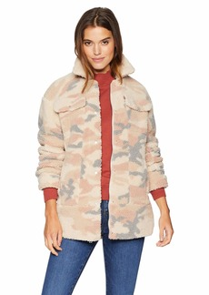 Levi's Women's Oversized Long Sherpa Trucker Jacket Blush camo