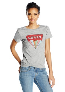Levi's Women's Perfect Graphic Tee Shirt 3D Batwing Smokestack Htr