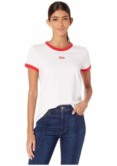 Levi's Women's Perfect Tee Shirts Text Chest red Ringer White