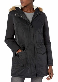 Levi's Women's Performance Sherpa Lined Midlength Parka Jacket Black/Poly Twill