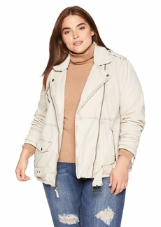 Levi's Women's Plus Size Acid Wash Cotton Sherpa Oversized Moto Jacket Khaki