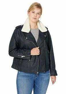 Levi's Women's Plus Size Faux Leather Sherpa Motorcycle Jacket