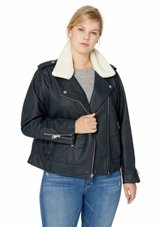 Levi's Women's Faux Leather Sherpa Collar Moto Jacket (Standard & Plus Sizes)