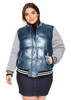 Levi's Women's Plus Size Mixed Media Quilted Varsity Bomber Jacket